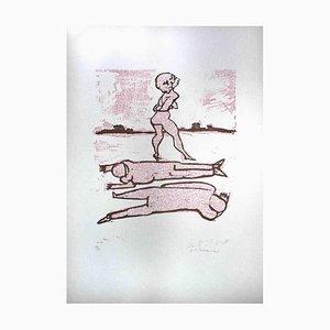 Mino Maccari - The Killing Charme - Original Holzschnitt Druck - Mitte des 20. Jahrhunderts