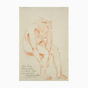 Unknown, Anatomical Study, Oil Pastel Drawing on Paper Signed Schiavetto, 1946