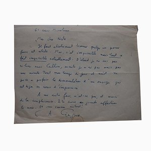 Charles Albert Cingria, Autograph Letter, Early-20th Century
