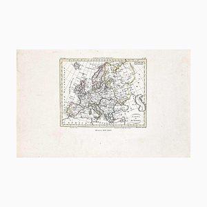 Acquaforte, Cartina dell'Europa, Incisione, XIX secolo