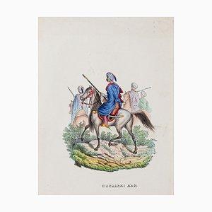 Unknown - Arab Soldiers (Giandarmi Mori) - Lithographie Originale - 1849
