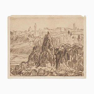 Robert Santerne, Landscape, Charbon Dessin sur Papier, Début 20ème Siècle