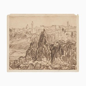 Robert Santerne, Landscape, Charcoal Drawing on Paper, Early 20th Century