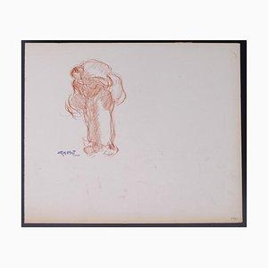 Georges Gobo, Frau trägt die Last, Zeichnung, frühes 20. Jahrhundert