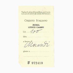 G. Morandi, Counterfoil in Favor of Giorgio Morandi , Mid-20th Century
