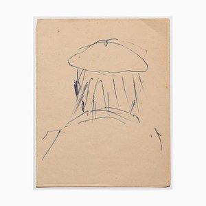 Beppe Guzzi, Portrait, Dessin à la Plume sur Papier, 1950s