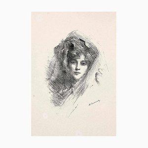 Albert De Belleroche, Verschleierte Frau, Lithographie, 1890