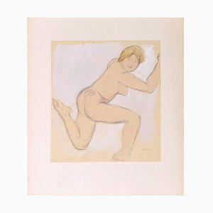 Anna Bass, Naked Woman Lying Back, Watercolor, Early 20th Century