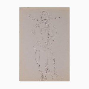 Louis Touchagues, Kostümierter Charakter, Tuschezeichnung auf Papier, Mitte 20. Jahrhundert