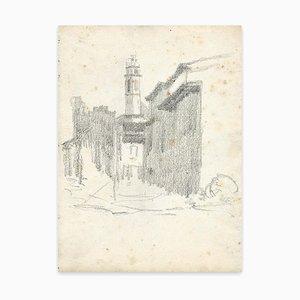 Georges-Henri Tribout, Straße und Kirche, Zeichnung, frühes 20. Jahrhundert