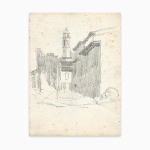 Georges-Henri Tribout, Street and Church, Drawing, Early 20th Century