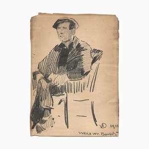 Verre de Bartels, Portrait d'un Homme, Dessin, Début 20ème Siècle