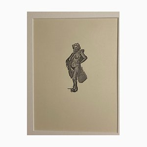 Mino Maccari, Nude of Woman, Zincography, 1950s
