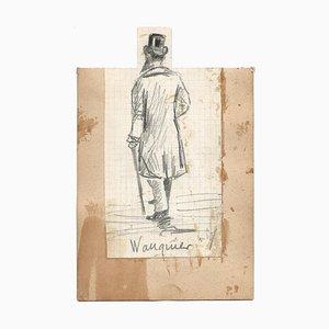 Wauquier di Etienne Omer, uomo con cappello, matita, metà XIX secolo