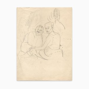 Chas Laborde, Couple, Ink Drawing, Early 20th Century