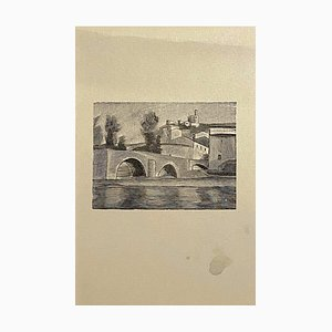 Mino Maccari, Landscape, Zincography, 1950s