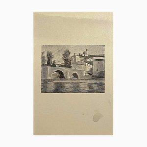 Mino Maccari, Landschaft, Zinkographie, 1950er
