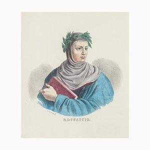 Dolfino, Ritratto di Giovanni Boccaccio, Litografia di Dolfino, XIX secolo