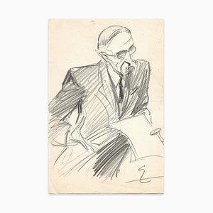 Theodore Van Elsen, Mann mit Brille, Zeichnung, frühes 20. Jahrhundert