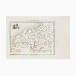 Karte von Seine - Radierung - 19. Jahrhundert