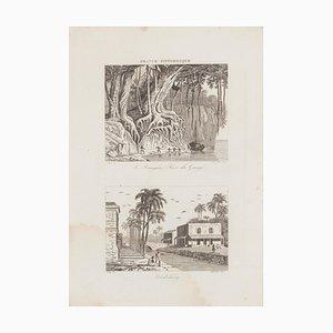 Rives Du Gange and Pendichéry - Lithograph - 19th-Century