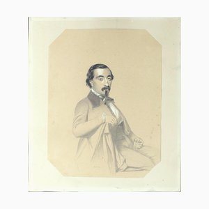 Antoine Alphonse Montfort - Retrato de un hombre - Dibujo - Siglo XIX