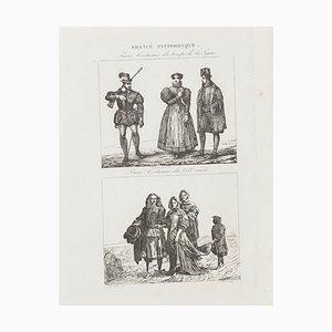 Paris Kostüme - Lithographie - 19. Jahrhundert