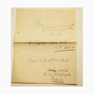 Camille Bryen, Letter by Camille Bryen To Nesto Iacometti, 1960