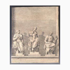 Three Statues of Woman with Child in the Center - Etching - 19th-Century