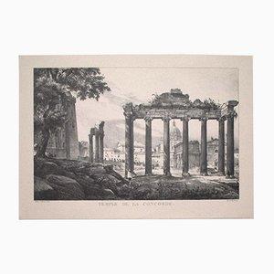 Godefroy Engelmann - Roman Temple - Vintage Offset Print - Early 20th-Century