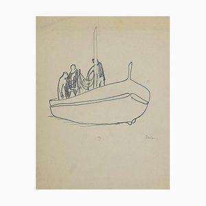 Herta Hausmann, Boatmen, Pencil on Paper, 1950s