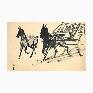 Inconnu - Chevaux et Chariot - Encre de Chine Original et Aquarelle - 1940s