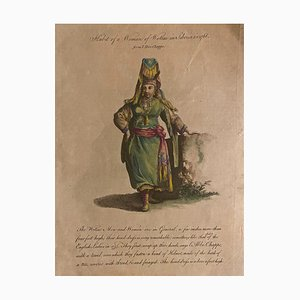 Jean Baptiste Le Prince - Costume of a Woman from Siberia - Original Watercolor Etching