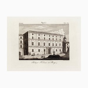 Alessandro Lescano - Borgo Palazzo Torlonia - Original Etching - 19th Century