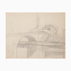 Inconnu - Paris Cityscape - Crayon Original sur Papier - Début 20ème Siècle