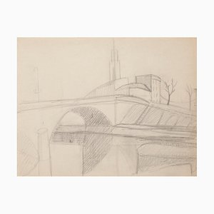 Unknown - Paris Cityscape - Original Pencil on Paper - Early 20th Century