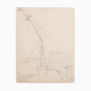 Unknown - Paris Cityscape - Original Bleistift auf Papier - Frühes 20. Jahrhundert