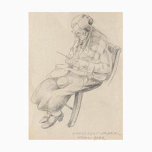 Ildebrando Urbani Del Fabretto - Knitting - Original Pencil Drawing - 1932