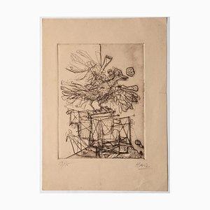 Miguel Angel Ibartz - the Bird - Original Etching on Paper - Mid-20th Century