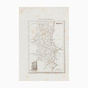 Gravure Inconnue - Carte du Rhône - Gravure à l'Eau-Forte 19ème Siècle