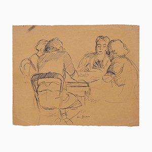 Unknown - Card Players - Original Pen on Paper - Mid-20th Century