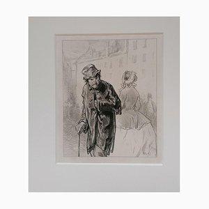 Lithographie Paul Gavarni, The Beggar, Mid-19thth Century