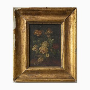 Unknown - Flowers - Original Oil Painting on Cardboard - Early 20th Century