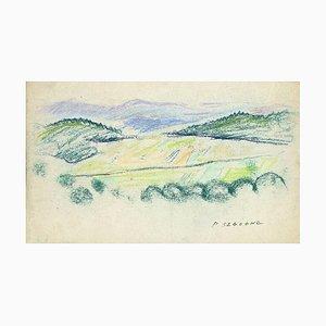 Pierre Segogne - Paysage - Pastel Original sur Papier - Début 20ème Siècle