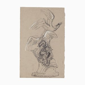 Unknown - Seagull Caught by a Octopus - Original Drawing - Mid-20th Century
