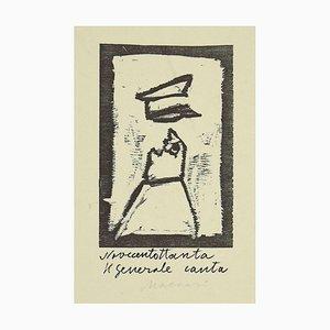 Mino Maccari - Singing General - Original Woodcut Print - Mid-20th Century