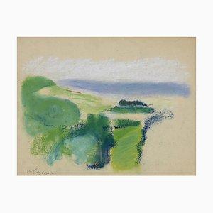 Technique Pierre Segogne - Landscape - Original Mixed Media on Paper - 1950s