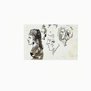 Inconnu - Etudes pour Portraits - Encre de Chine Originale - Fin 19ème Siècle