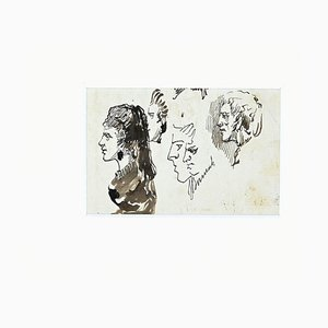 Unknown - Studies for Portraits - Original China Ink - Late 19th Century