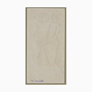 Charles Laudelle - Two Figures - Original Bleistift auf Papier - Frühes 20. Jahrhundert